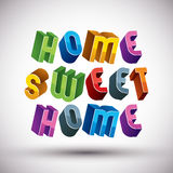 Home Sweet Home phrase, 3d retro style letters Stock Photos