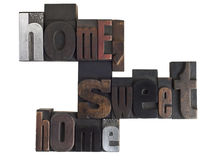 Home sweet home phrase in letterpress type Stock Image