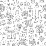 Home sweet home. Seamless vector pattern with home interior doodles. Royalty Free Stock Image