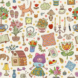 Home sweet home. Seamless vector pattern with home interior doodles. Stock Image