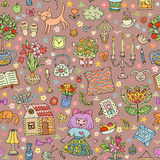 Home sweet home. Seamless vector pattern with home interior doodles. Stock Photo