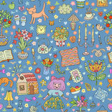 Home sweet home. Seamless vector pattern with home interior doodles. Royalty Free Stock Images