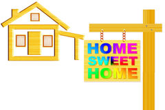 Home sweet home sign board with post and home icon design Royalty Free Stock Image