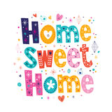 Home sweet home typography lettering decorative text royalty free illustration
