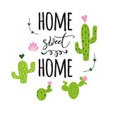 Home sweet home vector card Cute hand drawn Prickly cactus print with inspirational quote Home decor. Home sweet hom banner Prickly cactus with heart and royalty free illustration