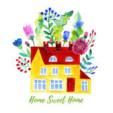 Home Sweet Home. Watercolor illustration Royalty Free Stock Images