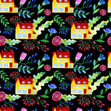 Home Sweet Home. Watercolor seamless pattern Stock Photos