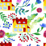 Home Sweet Home. Watercolor seamless pattern Royalty Free Stock Photo
