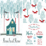 Home sweet home Winter set Royalty Free Stock Images