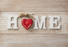 Home sweet home. Wooden text on vintage board with copy space Royalty Free Stock Images