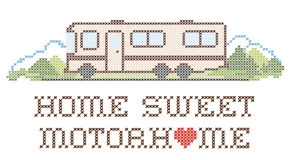 Home Sweet Motorhome, Class A Model, Embroidery. Home Sweet Motor home with a big heart, retro cross stitch needlework sewing design, Class A model recreational Stock Photo