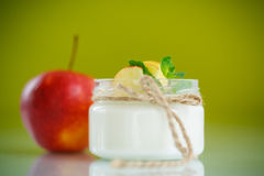 Home sweet yogurt with apples Stock Photos