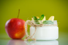 Home sweet yogurt with apples Stock Photos