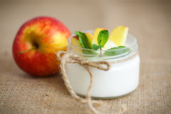 Home sweet yogurt with apples Royalty Free Stock Photos