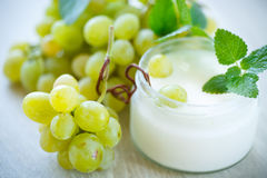 Home sweet yogurt with fresh grapes Stock Images