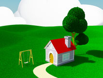 Home with swing Stock Photo