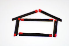 Home symbol. Arranged from matches Royalty Free Stock Image