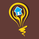 Home symbol in bulb Stock Image