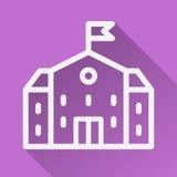 home symbol huslägenhet med skuggaillustrationen på den purpurfärgade bakgrunden Arkivfoto