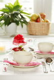 Home table setting. Kitchen interior Stock Image