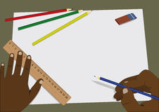 Home task. Person starts drawing on a white sheet of paper on his desk ruler, pencils and erasers Stock Image