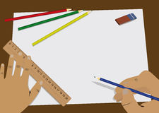 Home task. Man begins to draw on the white sheet of paper Stock Image