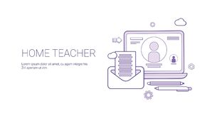 Home Teacher Education Concept Banner With Copy Space Thin Line. Vector Illustration Royalty Free Stock Images