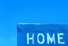 Home Team. HOME spray painted in while on the home team's dugout Royalty Free Stock Photos