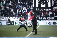 The home team's fans of PAOK Stock Image