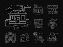 Home technology detailed icons white line Stock Photography