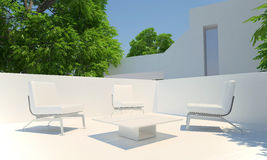 Home Terrace. Relax corner on home terrace in summer time Royalty Free Stock Photos