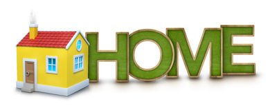Home text with 3d house Stock Images