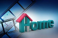 Home text with roof. In color background Royalty Free Stock Photo