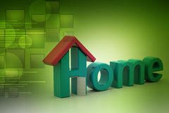 Home text with roof. In color background Royalty Free Stock Images