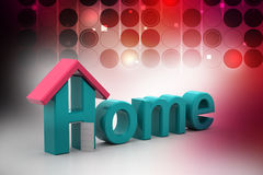 Home text with roof. In color background Royalty Free Stock Photos