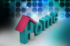 Home text with roof. In color background Stock Images