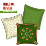 Home textile cushion throw pillows design top view. Home textile design, set of 3 matching decorative patterned throw pillows. Pattern idea for fashion home Stock Photos