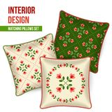 Home textile cushion throw pillows design top view. Home textile design, set of 3 matching decorative patterned throw pillows. Pattern idea for fashion home Stock Image