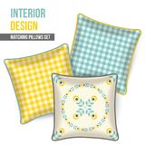 Home textile cushion throw pillows design top view. Set of three matching decorative pillows for interior design. Gray, yellow and turquoise-teal patterned throw Stock Images