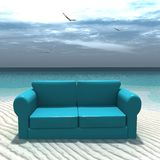 Home theater. 3d render of a sofa on a tropical beach stock image