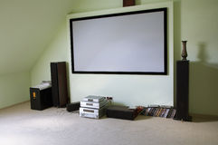 Home theater. Modern house cinema in the new house Royalty Free Stock Image