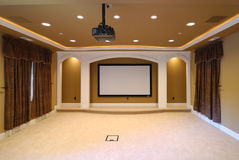 Home Theater. With big screen Royalty Free Stock Photos