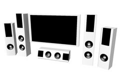 Home theater. 3D render Maya mental ray royalty free illustration