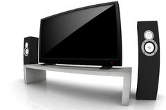 Home theater. / high definition television with speakers - isolated 3d render Royalty Free Stock Images