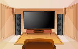 Home theater in cartoon style with big TV. Room with sofa. Modern interior. Acoustic stereo sound royalty free illustration