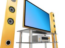 Home theater close up. 3d illustration of home theater on white, closeup Stock Images