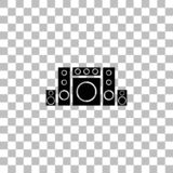 Home theater icon flat. Home theater. Black flat icon on a transparent background. Pictogram for your project stock illustration