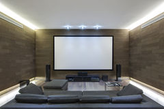 In-Home Theater in Luxury Home. Theater in Luxury Home. Stock photo Stock Image