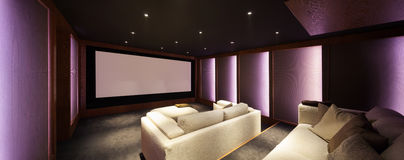 Home theater, luxury interior Royalty Free Stock Images