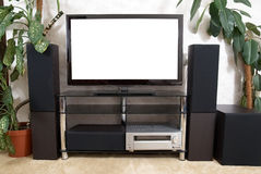 Home theater. With plasma tv and hi-fi acustics Royalty Free Stock Photos